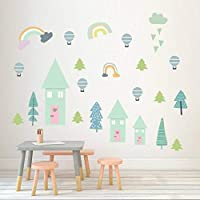 ZXFMT Wall Sticker Countryside Pvc Wall Sticker Balloon Rainbow Kids Room Wall Decals Poster Pastoral Painting For Baby Room Art