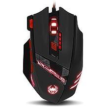 Gaming Maus, ECHTPower Computer Laser Optische Gaming Mouse, 9200DPI PC Gamer Maus mit einstellbarer DPI, 8 Stk. Gewichten, LED Beleuchtung, 8 Tasten, USB kabelgebundene, Groß, Rechtshänder