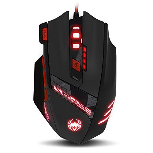 ECHTPower Gaming Maus, Computer Laser Optische Gaming Mouse, 9200DPI PC Gamer Maus mit Einstellbarer DPI, 8 Stk. Gewichten, LED Beleuchtung, 8 Tasten, USB kabelgebundene, Groß, Rechtshänder