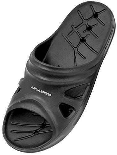 AQUA-SPEED - Badelatschen Für Erwachsene - Schwimmbadschuhe - Anti-Rutsch-Sohle - Sehr Leicht - #AS Florida, 07 Schwarz, 41