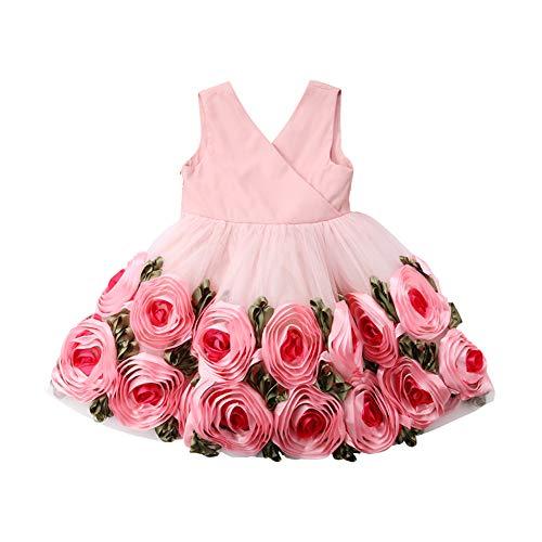 ZHUOHONG Prinzessin Blume Kleid - Prinzessin kleine Fee Blumen Fliege Kleid Geburtstag Kindertag Geschenk für Mädchen (2-8 Jahre)