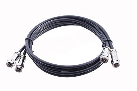 Mast Digital Kit de rallonge double câble pour satellite avec connecteurs F à compression de haute qualité pour Sky et Freesat