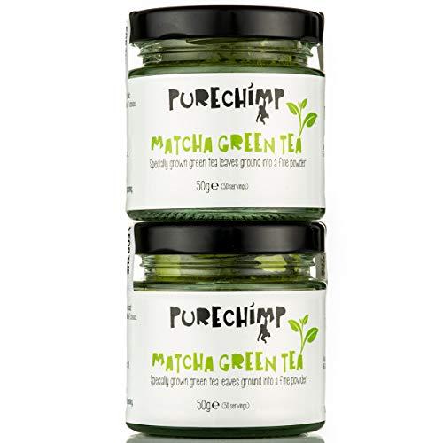 PureChimp Super Tea (Matcha Green Tea Powder) Regular/Lemon/Mint - 50g Jars [Packs of 2] - Ceremonial Grade from Japan - All Natural & Vegan (2 x Regular )