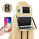 YMXLJJ Laptop Stand Tablett Tasche Faltbares Regal Mit 4 USB-Port-Auto-Sitz-Organisator Leder...