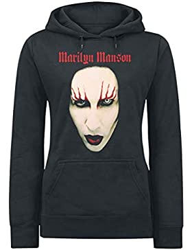 Marilyn Manson Big Face Red Lids Jersey con Capucha Mujer Negro