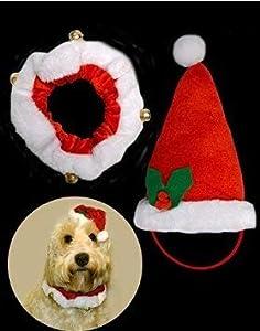 Caomoa TB_koop Pet Santa Hat avec col + Bell - Grande Tenue de nouveauté pour Chiens, Chiots, Chats - 2pc Set
