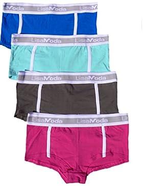 LisaModa Mädchen Pants 4er Pack Farbmix Stretch Baumwolle