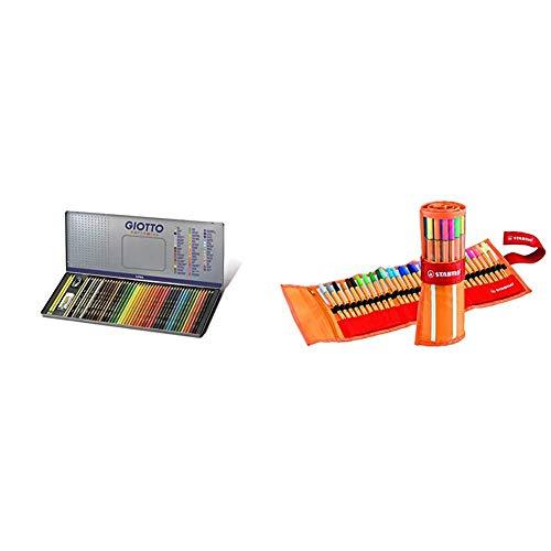 Giotto 237500 - supermina scatola di metallo da 50 pezzi, multicolore & stabilo point 88 penna fineliner colori assortiti - rollerset da 30