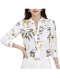Mujer Blusas Primavera Verano Negocios Oficina Elegantes Moda Camisas Elegantes Basic Anchos Chiffon Blusa Camisa Manga