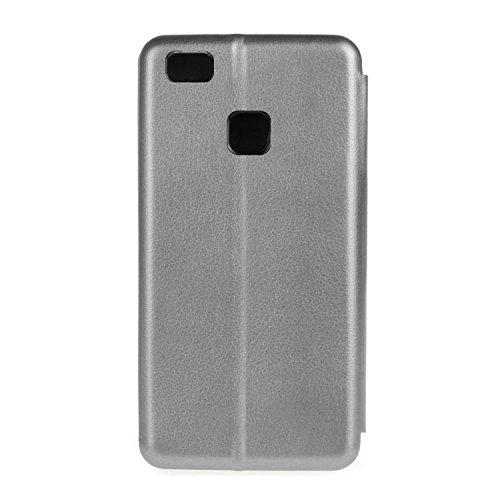 YHUISEN Solid Color Premium-PU-Leder und weicher TPU Gummischutz Mappen-Entwurfs-Flip Folio Case Schutzhülle mit Karten-Slot / Stand für Huawei P9 Lite ( Color : Black ) Silver