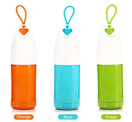 Tee-baum-spray (300ml U Cup tragbar Edelstahl Herz Form Griff Vakuum Wasser Flasche, Sports Travel Fit Winter Herbst 6.00 x 6.00 x 21.00 cm (300ML) Orange)