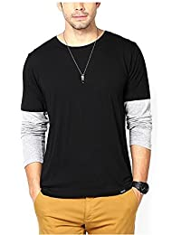 Lime Round Neck Full Sleeve Black-Grey Cotton T-Shirts For Men