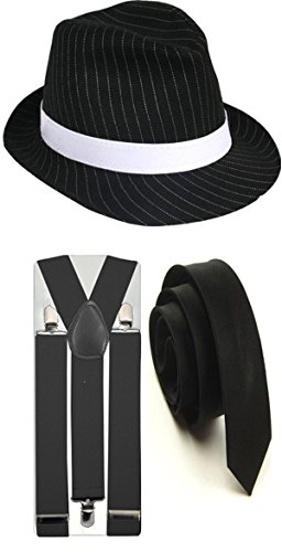 Nadelstreifen-Hut mit passenden Hosenträgern und Krawatte, im 1920-ern-Gangster-Stil, Party-Kostüm von Trilby Fedora  Gr. Einheitsgröße, 3 PC Black Full Costume (Black And White Party Kostüm)