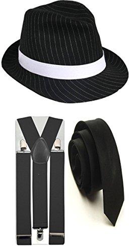 Nadelstreifen-Hut mit passenden Hosenträgern und Krawatte, Gangster-Stil, 1920er, Trilby Fedora Party-Kostüm Gr. Einheitsgröße, 3 PC Black Full (Kostüme 1920's Party)