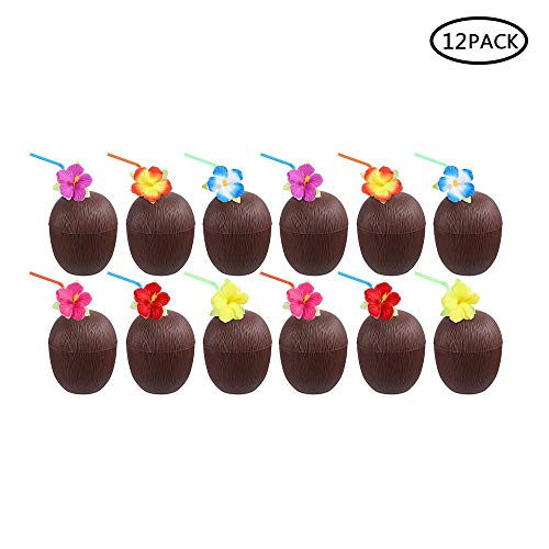 (Hamkaw 12 Party-Trinkbecher, 300 ml, Kunststoff, Hawaiianische Luau-Kokosnuss/Ananas mit Blume, biegbare Strohhalme für Hawaii/Luau/Sommer/Strandveranstaltungen, Kinderpartys Coconut)