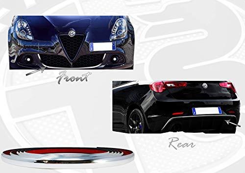 Quattroerre 19988 Profilo Cromato Adesivo per Dam Paraurti Full Anteriore + Posteriore Alfa Giulietta con Biadesivo 3M