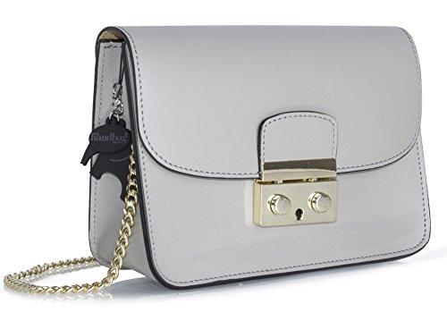 Big Handbag Shop borsa a tracolla piccola, in vera pelle italiana, clutch per feste, matrimoni. Grey