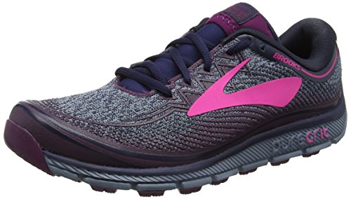 Brooks PureGrit 6, Scarpe da Trail Running Donna, Multicolore (Navy/Plum/Pink 1B418), 38 EU