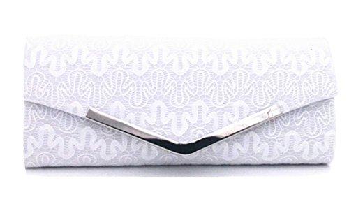 Cloud-Y Mode StrasssteinDamenAbendtascheHandtasche/ Clutch Spitzenschleier Große 10.24*1.97*4.33 -Geschenk fur Mutter oder Freunde Weiß