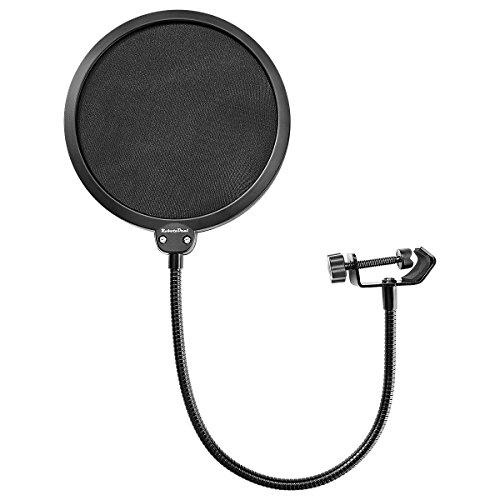 RobotsDeal Pop Filter mit Drehgelenk, doppelschichtigem Schallschirm Windschutz für Blue-Yeti und andere Studio-Mikrofone Schwarz  - Yeti Blue Mikrofon-pop-filter