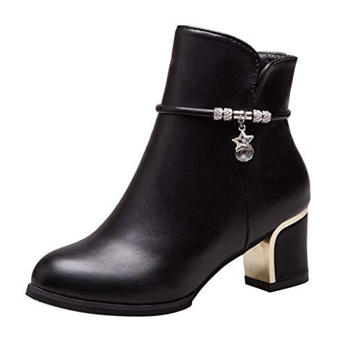 Splrit-MAN Damen Stiefeletten Elegant Schlupfstiefel Kurz Stiefel Herbst Stiefeletten Frauen Mode PU Leder Klassisch Flache Schuhe Schnalle Ankle Boots Booties -