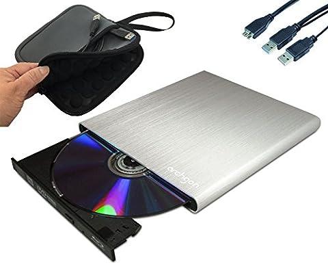Archgon® MD-8107S-U3+UJ272(S) Style Silber & Neopren Schutzhülle Sleeve Case Externer Blu Ray M-Disc DVD CD Brenner Player Lesegerät (Panasonic UJ-272) mit USB 3.0 - gebürsteten Vollmetall Aluminum Flachrohr Gehäuse - kompatibel mit PC und Mac Macbook Pro, Air, iMac