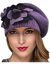 88d0bce26d6 Ruphedy Women French Beret - 100% Wool Beret Knit Beanie Winter Dress Hat  Hy022