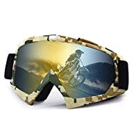 Wellovar Motorcycle Goggles,ATV Goggles Dirt Bike Ski Goggles Windproof Scratch Resistant Combat Goggles Adjustable UV Protective Safety Outdoor Glasses for Cycling, Climbing, etc (Army)