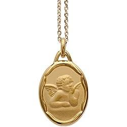 Ensemble pendentif naissance médaille ange plaqué or pour baptême ou communion avec chaine 40cm et écrin et gravure possible enfant bébé femme