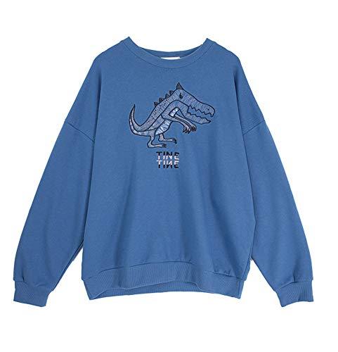 Sweatshirt Bestickt Kleinen Dinosaurier Pullover Lose Dünne Hülse Weiblichen Herbst Mantel,Blue (Bestickte Jumper)