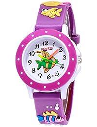 Kidzo Something Fishy Purple Kids Analog Wrist Watch with 3D Strap