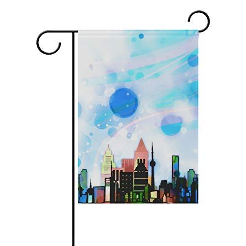 Lennel Gartenhof Heimflagge Banner {Spac} Zoll City Architecture, Dekorative Hausflagge für Hochzeit, Party, Zuhause, drinnen und draußen, bunt, 28x40(in)