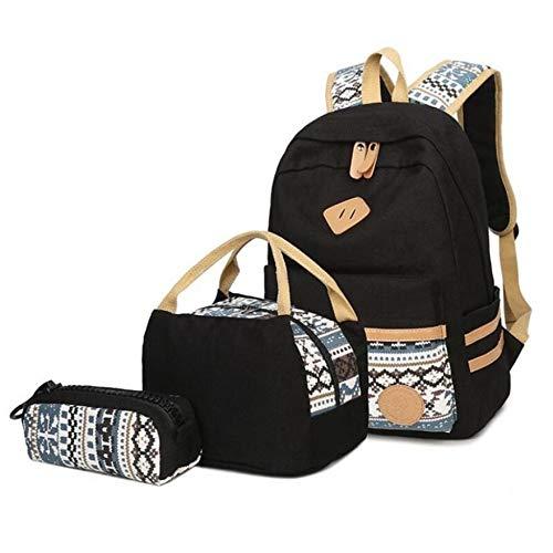 ZFLL School bag3pcs / Set Vintage schwarz Schulrucksack fürmädchenleinwandRucksackKinderSchultascheschultaschen fürFrauenmädchen Bleistift Bag-in schultaschen von Luggage & Bags (Lila Rucksack Von Under Armour)