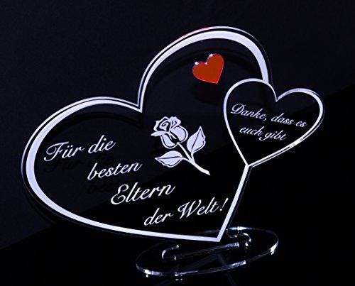 """Acryl Schild in Herz Form """"Für die besten Eltern der Welt"""" die perfekte Geschenkidee, mit Lasergravur, Geschenk, 205 mm x 170 mm (Für die besten Eltern der Welt!)"""