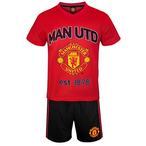 manchester-united-fc-officiel-ensemble-de-pyjama-court-theme-football-garcon-rouge-12-13-ans