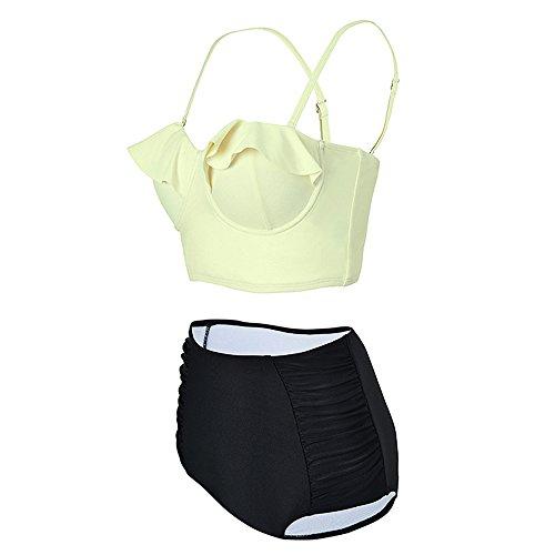Babyonlinedress Strandkleidung Solide Ruffles Bikini Set Hohe Taille Badeanzug Bauchweg Beige L -