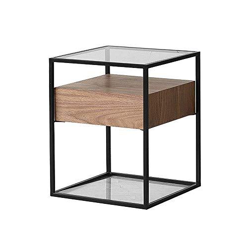 YueQiSong Nordic Nachttisch Nachttisch Einfacher Moderner Quadratischer Couchtisch-Ecktisch des Ausgeglichenen Glases des Wohnzimmers -