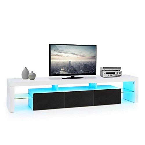 oneConcept Orlando lowboard TV mobile soggiorno (3 cassetti scorrevoli, LED 21 colori con telecomando, ripiano (Legno Della Struttura Del Soffitto Apparecchio Apparecchio)