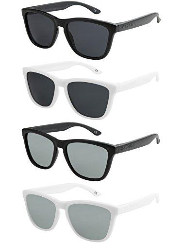 X-CRUZE 4er Pack X0 Nerd Sonnenbrillen polarisierend Vintage Retro Style Stil Unisex Herren Damen Männer Frauen Brillen Nerdbrille Nerdbrillen - schwarz matt & weiß matt - Set X -
