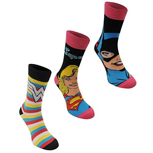 3 Paar DC Comics Damen Socken Struempfe Verschiedene Designs Multi Ladies 4-8