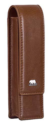 Brown Bear Schreibgeräte-Etui Leder Braun für 2 Stifte mit Magnet-Verschluss Echt-Leder Farbe Tobacco hochwertig Stifte-Halter Stifte-Etui Stifte-Tasche -