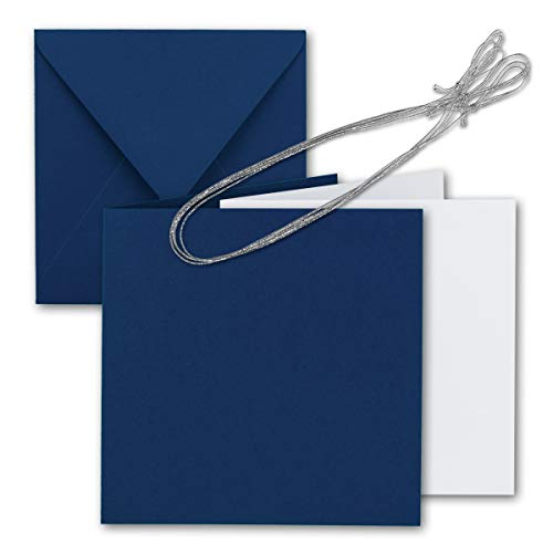 lt-Karten-Set 15 x 15 cm - mit Brief-Umschlägen & Einlege-Blätter & Schmuck-Band - Nacht-Blau - für goldene Einladungskarten, Hochzeit, Weihnachten - von Gustav NEUSER® ()
