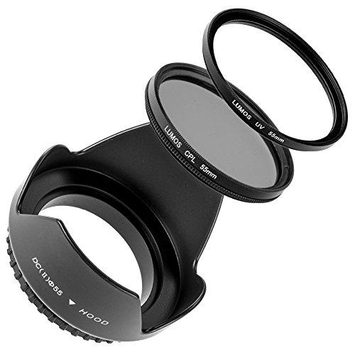 LUMOS 3er Zubehör Set mit 55mm Gegenlichtblende UV Filter CPL Polfilter für jedes Kamera Objektiv mit 55mm Einschraubgewinde von Canon EF-M 18-150mm EOS M5 M6 Nikon AF-P 18-55 D3300 D5300 Sony DSC-HX 400 300 Panasonic DMC FZ72