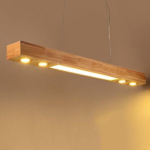 ZMH LED Pendelleuchte aus Holz Hängelleuchte esstisch Pendellampe Hängellampe mit Einbauspots für Küche/Wohnzimmer / Büro/cafe / Arbeitszimmer 3500K Warmweiss Licht
