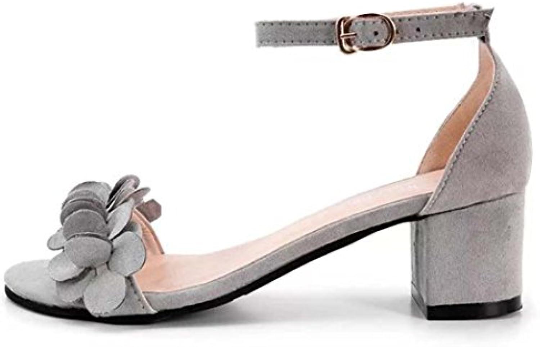24e3c489d0a ZycShang Women Sandals Ladies Block High Heel Flowers Flowers Flowers Adorn  Buckle High Heels Shoes Size