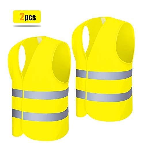 Warnweste 2 Stück Neon Gelb Hochsichtbare Sicherheitsweste 360 Grad Reflektierende Warnweste Auto 69 x 45cm -