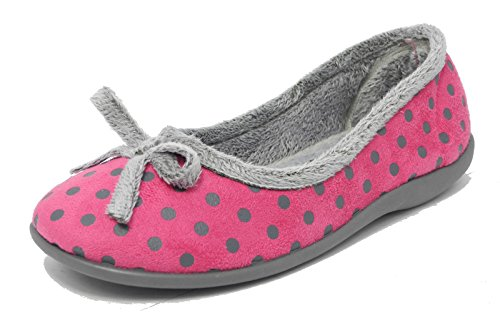 Womens Ladies Memory Foam Fur Velour Polka Dot Slippers Sleepers PINK SIZE 6