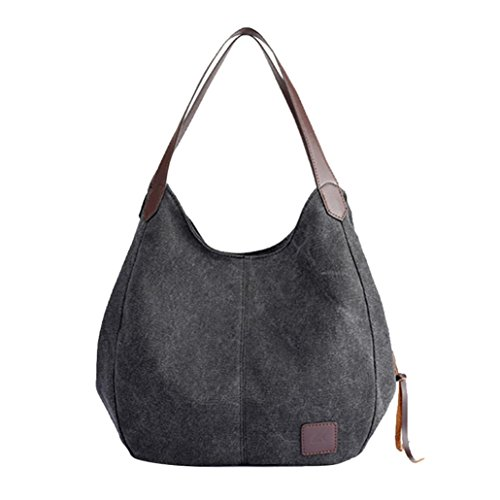 VENMO Frauen Leinwand Handtaschen Vintage hohe Qualität weibliche einzelne Umhängetaschen Damen Umhängetasche Damen Henkeltasche Schultertasche Umhängetasche Leichte Schultertasche (Black) -