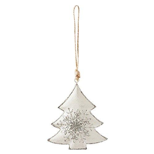 Paillettes Flocon de neige Décoration à suspendre en forme de sapin de Noël Métal 10 cm x 8 cm x 1 cm