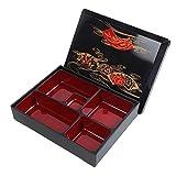 Dakimasu Bento Box - Praktische und robuste Premium Lunch Box mit 5 Einlegefächern - Ideal zum Servieren und Aufbewahren von Speisen - Elegante Verzierungen auf dem Deckel